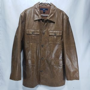 Awesome GAP Vintage Brown Leather Car Coat